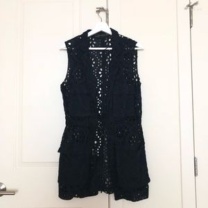 Zara navy lace vest with waist detail